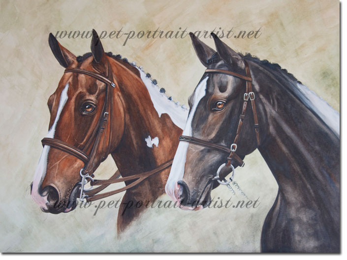 Horse Portrait of Lottie and Breeze, by Joanna Culley