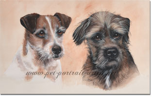 Portrait of Two Dogs, Fergus and Dash