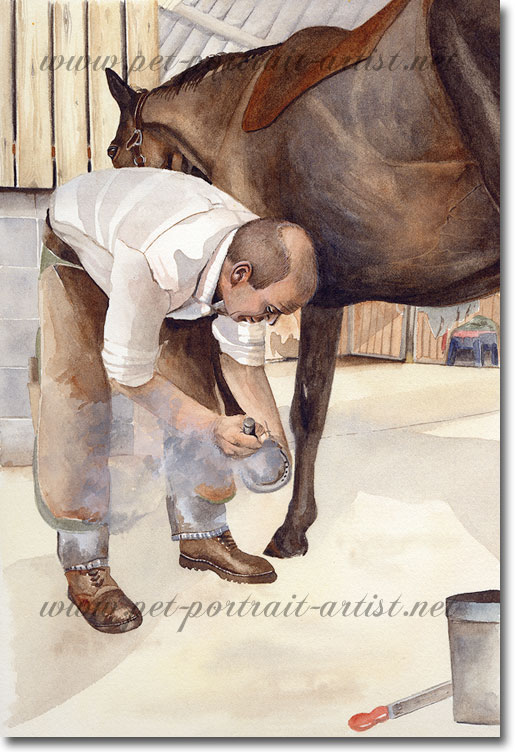 Watercolour of a Blacksmith Shoeing a Horse - No Foot, No Horse, by Joanna Culley