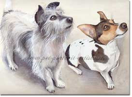 Portrait of two Jack Russell Terriers by Joanna Culley, Pet Portrait Artist