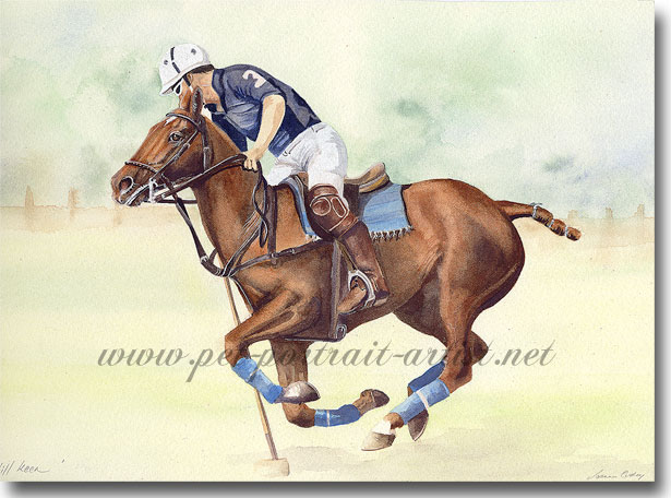 Polo pony portrait in Watercolour - Still Keen, by Joanna Culley